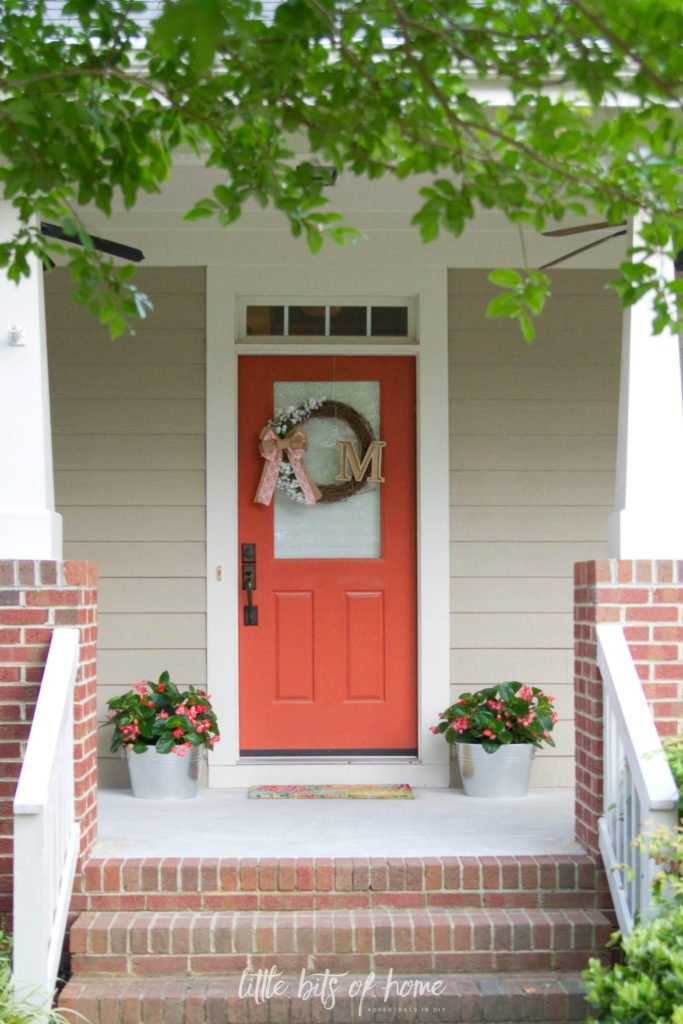 front porch coral door little bits of home