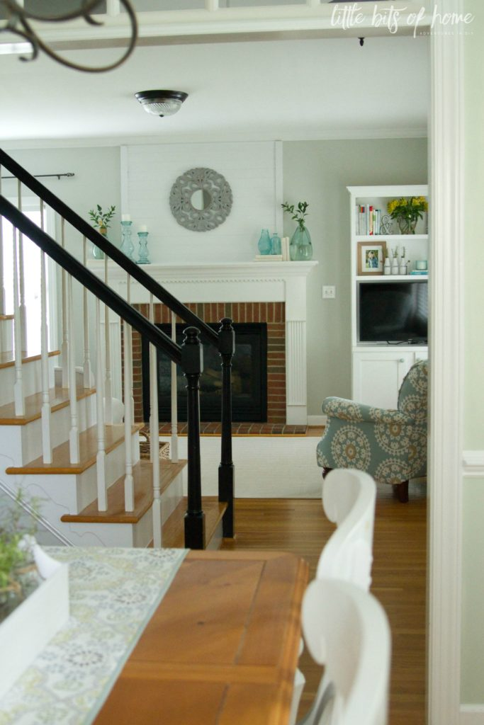 stairs and living room