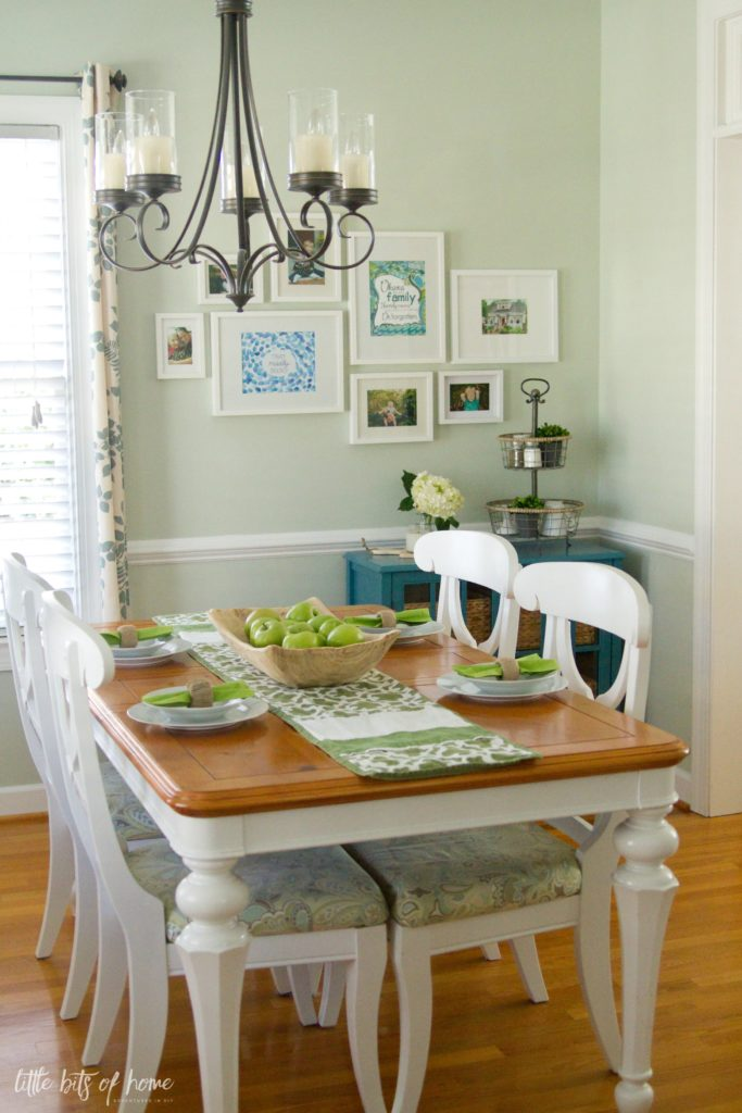 I Decked Out Our Dining Room In Some Simple Green And White Decor My Inspiration Was Fresh Apples