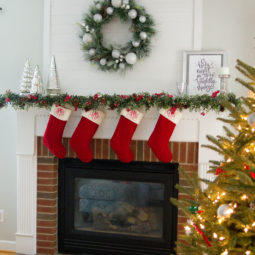Red + Silver Christmas Mantel {2017}